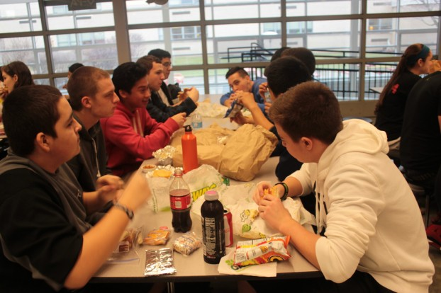 Juniors participate in #lunchstrike2013 during third-period lunch Tuesday, Jan. 29. PHOTO by Alyssa Guzman