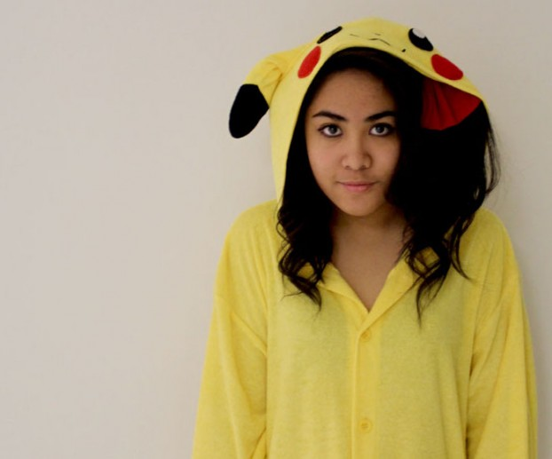 Sharon Pasia in her  famous one-piece Pikachu suit.