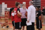 Coach Tony Konsewicz talks to members of the varsity girls' basketball team during practice. Photo by Sana Kadir
