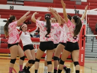Girls Varsity Volleyball Breast Cancer Game: West vs Maine South